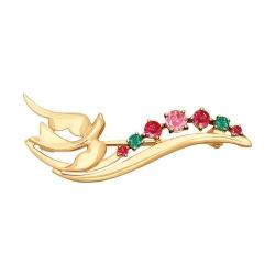 Золотая брошка с птицей (Фианит) SOKOLOV