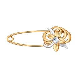 Золотая брошка Цветок с фианитом SOKOLOV