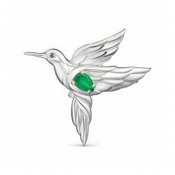 Брошка из серебра с зеленым агатом и фианитом