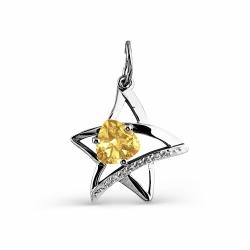 Подвеска Звезда из белого золота с цитрином, фианитами