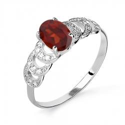 Женское кольцо из белого золота с гранатом и бриллиантом