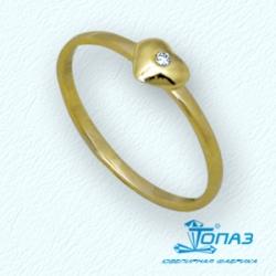 Детское кольцо Сердце из желтого золота с фианитом