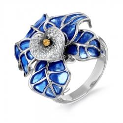 Золотое кольцо с сапфирами, бриллиантами и эмалью
