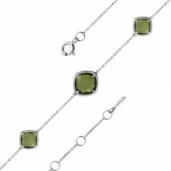 Браслет из серебра с ювелирным стеклом