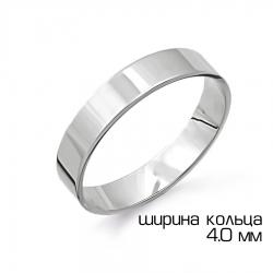 Кольцо из белого золота обручальное из белого золота