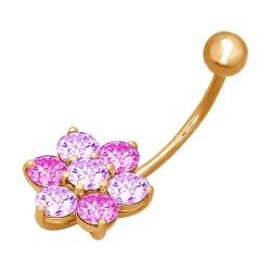 Золотой пирсинг «Цветок» в пупок c фианитами SOKOLOV