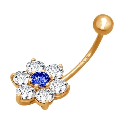 Золотой пирсинг «Цветок» c синими фианитами SOKOLOV