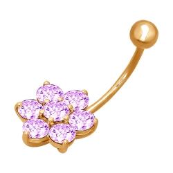 Золотой пирсинг «Цветок» c фиолетовыми фианитами SOKOLOV