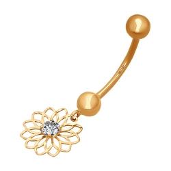 Золотой пирсинг в виде цветка в пупок c фианитами SOKOLOV