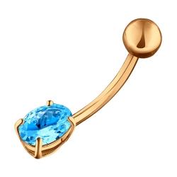 Золотой пирсинг c голубыми фианитами SOKOLOV