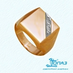 Золотая печатка с фианитами