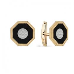 Золотые запонки с бриллиантами, ониксами