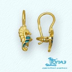 Детские серьги Морские коньки из желтого золота с эмалью
