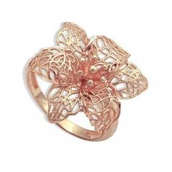 Золотое кольцо Ажурный цветок без камней