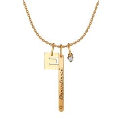 Колье Буква из золота с фианитами SOKOLOV