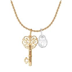 Колье Замок и ключ из комбинированного золота без камней SOKOLOV