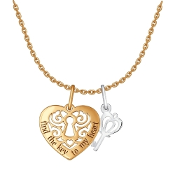Колье Сердце из комбинированного золота без камней SOKOLOV