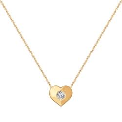 Золотое колье Сердце с фианитами SOKOLOV