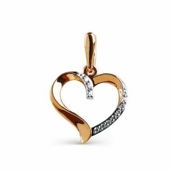 Золотая подвеска Сердце с фианитами