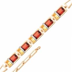 Браслет из красного золота с гранатом и цитрином