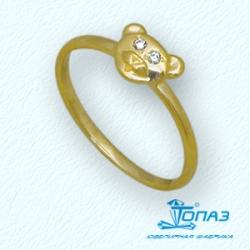 Детское кольцо Мишка из желтого золота с фианитами