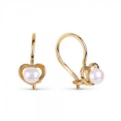 Золотые серьги Сердце с белым жемчугом
