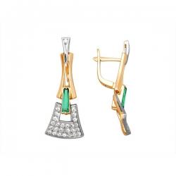 Серьги из золота 585 пробы с бриллиантами и изумрудами