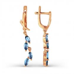 Золотые длинные серьги с топазом