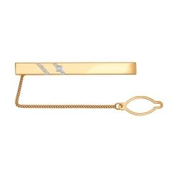 Золотой зажим для галстука c фианитами SOKOLOV