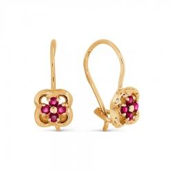 Золотые серьги Цветы с рубинами