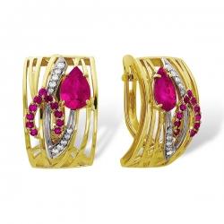 Эксклюзивные серьги из золота с бриллиантами и рубинами