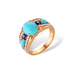 Кольцо из золота 585 пробы с бирюзой, бриллиантами, сапфирами