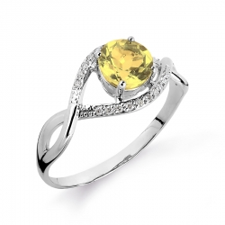 Женское кольцо из белого золота с цитрином и бриллиантом