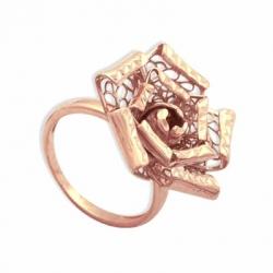 Золотое Ажурная роза кольцо без камней