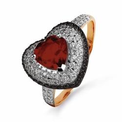 Золотое кольцо Сердце с гранатом, фианитами, фианитами