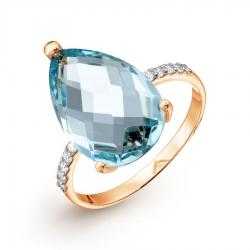 Золотое кольцо с аквамарином ситалл и фианитами