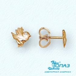 Детские золотые пусеты Птицы с фианитами