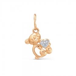Золотая подвеска Мишка с бриллиантами