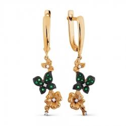 Золотые серьги Цветы с изумрудом, бриллиантами