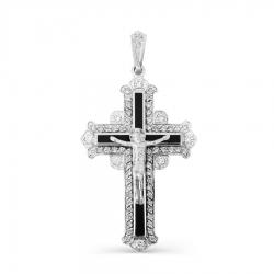Мужской крестик из белого золота с эмалью, фианитами
