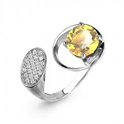 Женское кольцо из белого золота с цитрином и фианитами