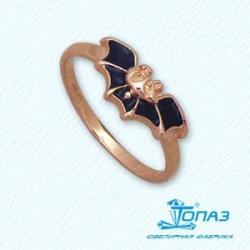 Детское золотое кольцо Летучая мышь с эмалью
