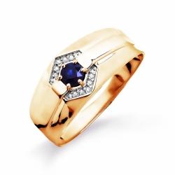 Мужское золотое кольцо с сапфиром и бриллиантом