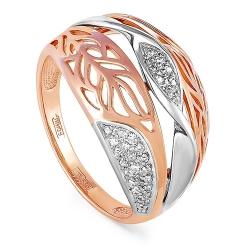 Кольцо из красного и белого золота 585 пробы с бриллиантами