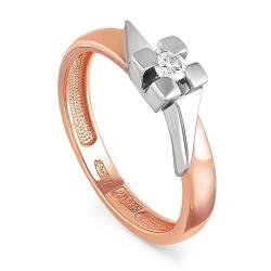 Помолвочное кольцо из красного золота 585 пробы с бриллиантом