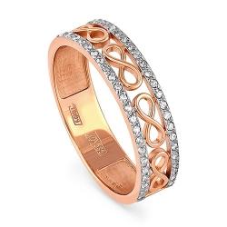 Обручальное кольцо из красного золота 585 пробы с бриллиантами