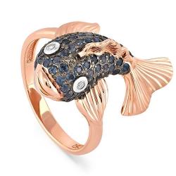 Кольцо из красного золота 585 пробы с бриллиантами и сапфирами