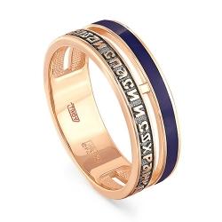 Православное кольцо из красного золота 585 пробы с эмалью