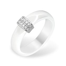 Кольцо из серебра 925 и керамики с фианитами