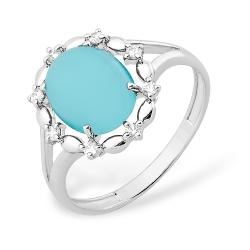 Кольцо из серебра 925 с бирюзой синтетической, фианитами